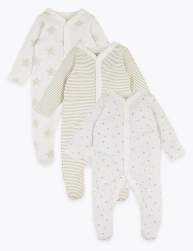 3 Pack Organic Cotton Patterned Sleepsuits (5lbs-3 Yrs)