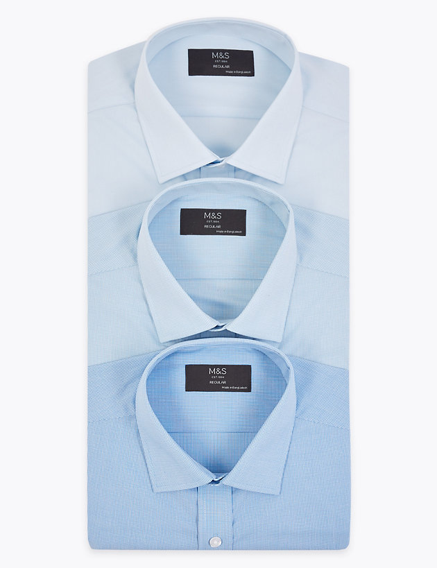 3 Pack Regular Fit Long Sleeve Shirts