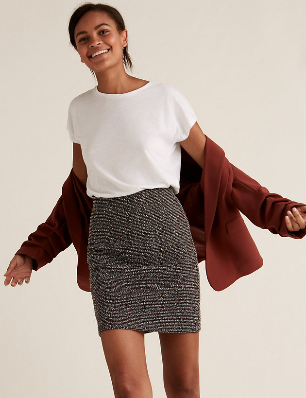Jersey Textured Mini A-Line Skirt