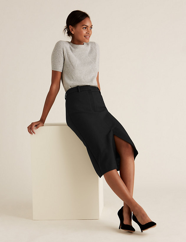 Split Front Midi Pencil Skirt
