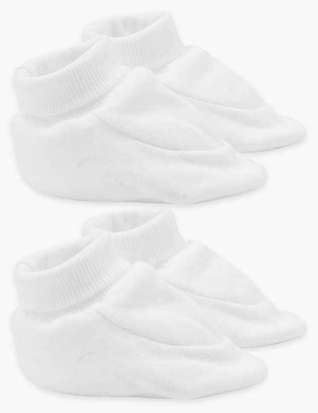2 Pack Organic Cotton Booties (0-12 Mths)