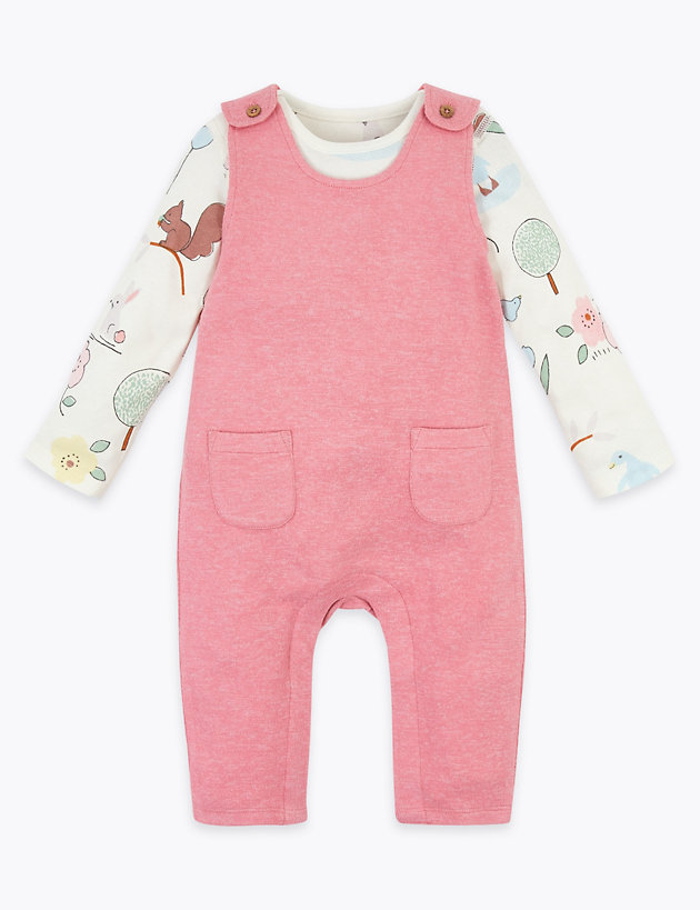 2 Piece Nature Print Dungarees Outfit (7lbs-12 Mths)