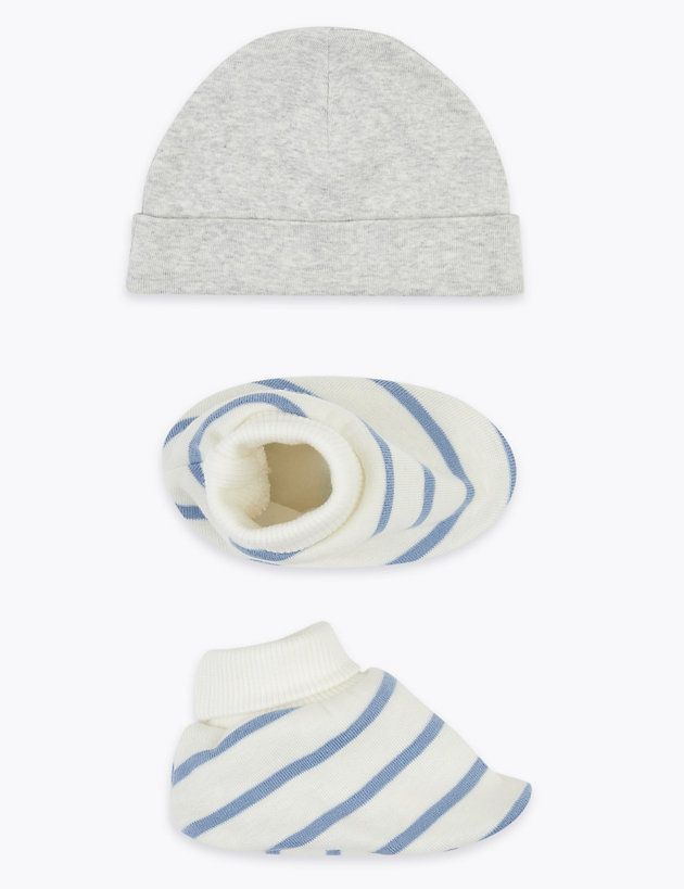 2 Piece Cotton Hat & Booties Set (0-12 Mths)