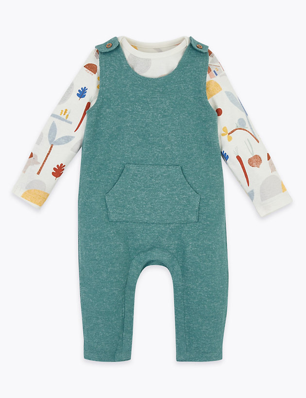 2 Piece Patterned Dungaree Outfit (7lbs-12 Mths)