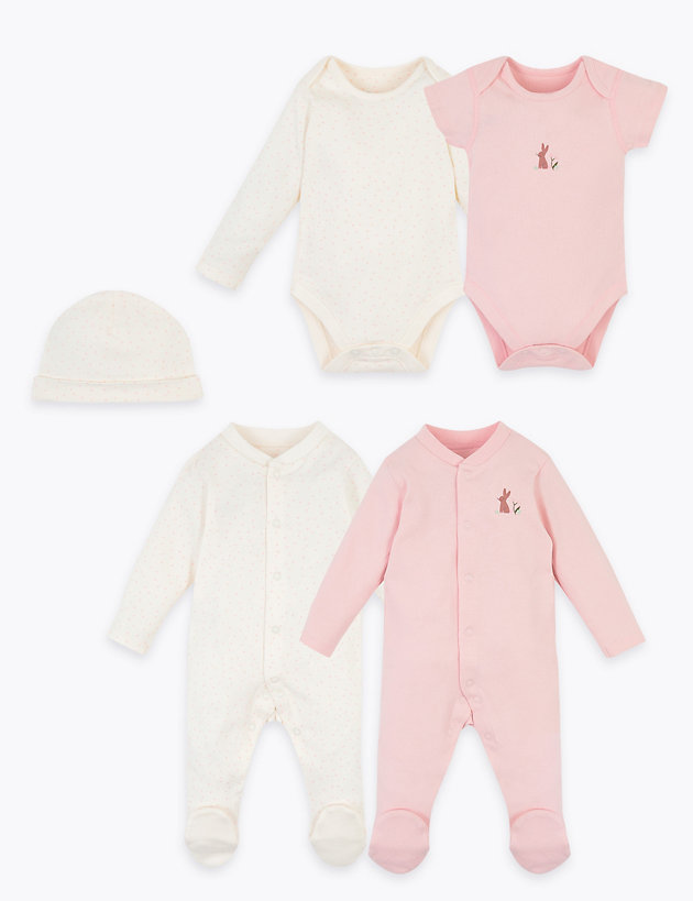 5 Pack Organic Cotton Baby Set (6.5lbs-12 Mths)