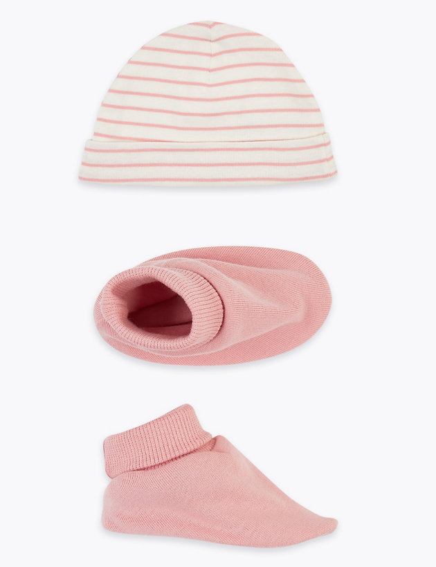 2 Piece Cotton Baby Hat & Booties Set (0-12 Mths)