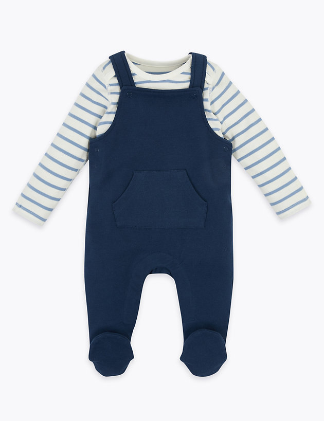 2 Piece Striped Dungarees Outfit (7lbs-12 Mths)