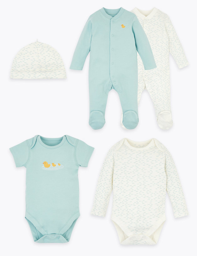 5 Pack Organic Cotton Starter Baby Set (6.5lbs-12 Mths)