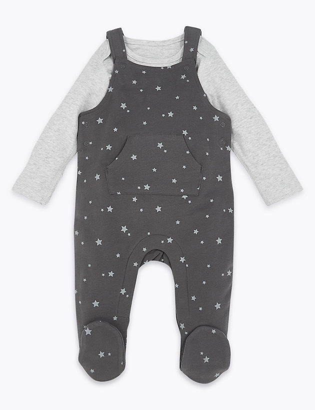 2 Piece Patterned Dungarees Outfit (7lbs-12 Mths)