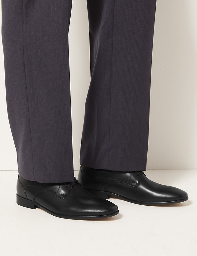 Leather Almond Toe Derby Shoes