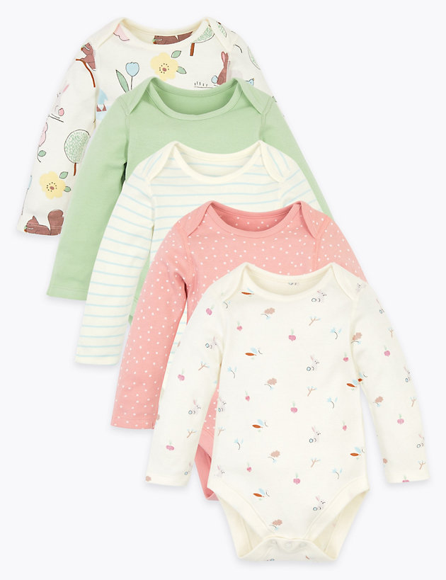 5 Pack Organic Cotton Nature Bodysuits (6.5lbs-3 Yrs)