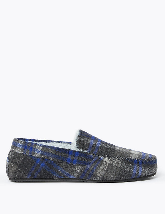 Checked Moccasin Slippers with Freshfeet