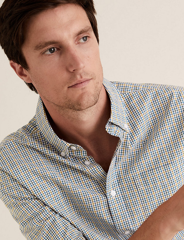 Laundered Cotton Gingham Checked Shirt