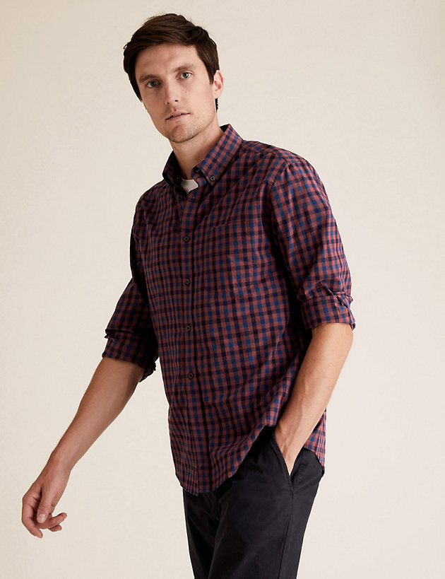 Laundered Cotton Checked Shirt
