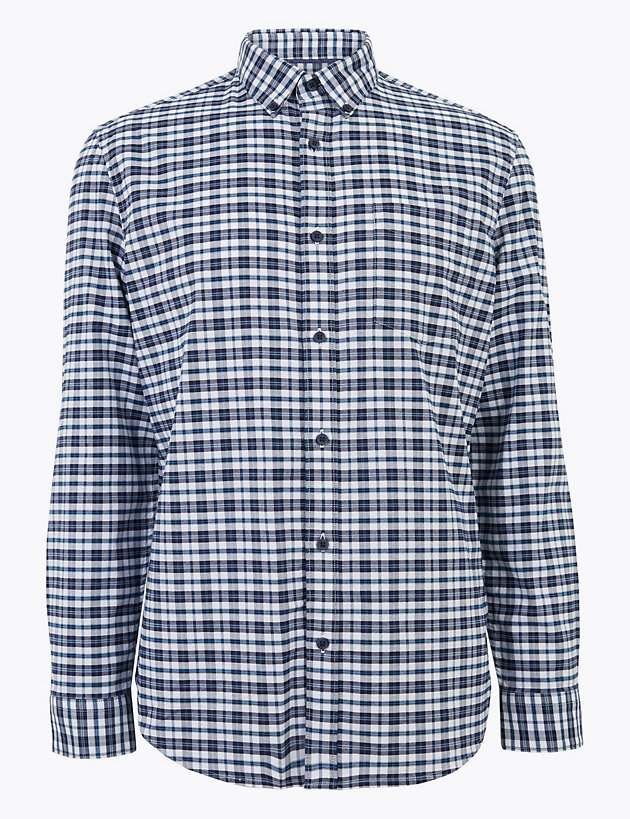 Easy Iron Pure Cotton Check Oxford Shirt