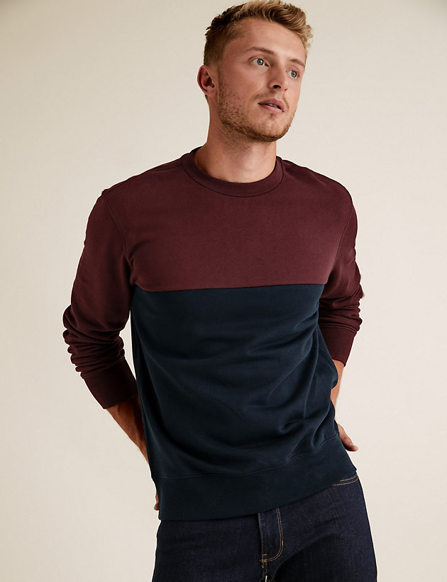 Pure Cotton Colour Block Crew Neck Sweatshirt