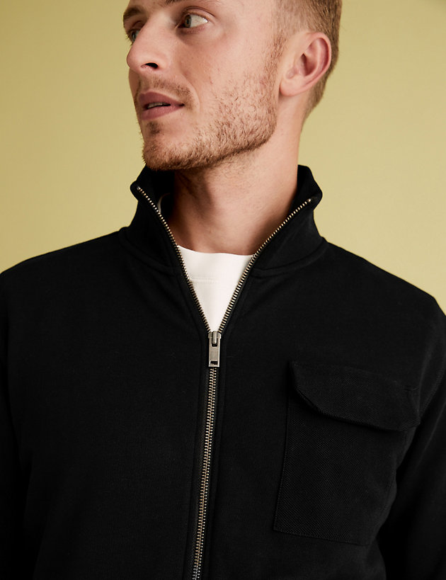 Pure Cotton Zip Up Sweatshirt