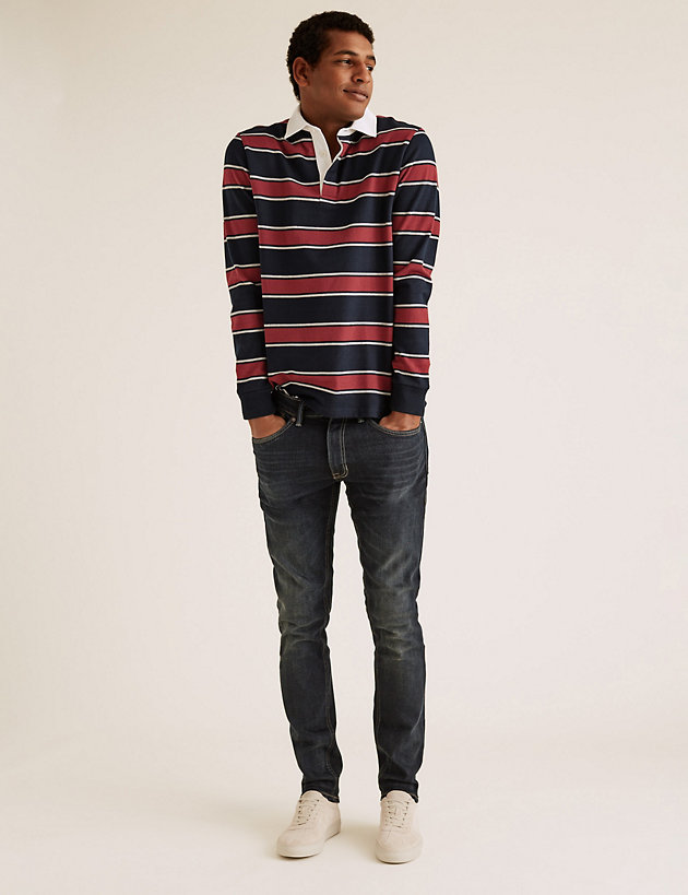 Cotton Striped Long Sleeve Rugby Top