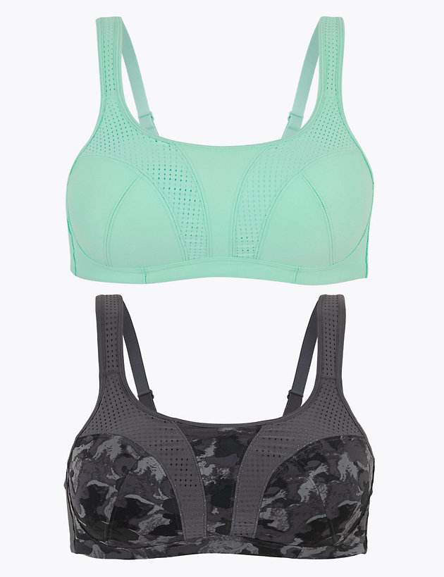 M/&S Lime Green High Impact Underwired Sports Bra 34C  34F