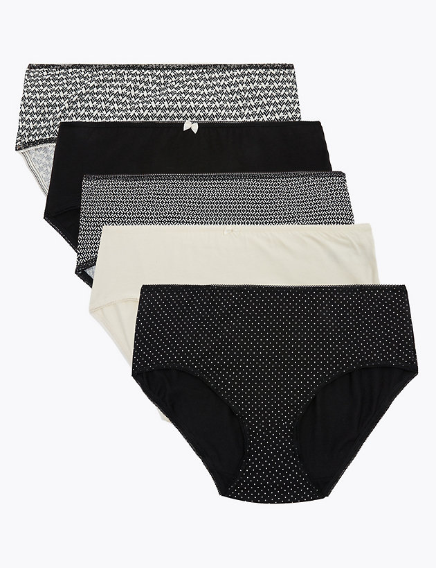 5 Pack Cotton Lycra   Midi Knickers
