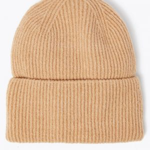 Knitted Ribbed Beanie Hat