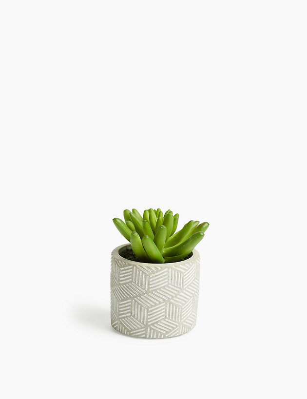 Artificial Mini Succulent in Concrete Pot