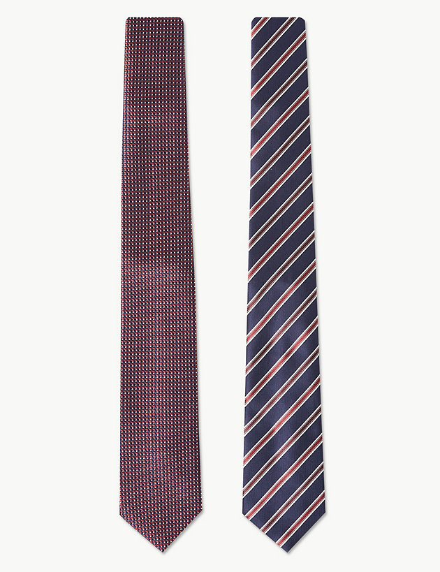 2 Pack Textured & Striped Ties