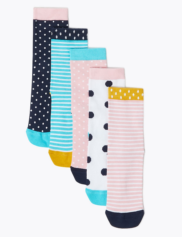 5 Pack Cotton Rich Patterned Socks