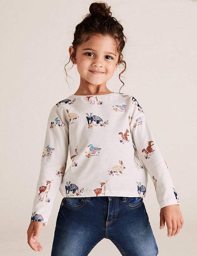 3 Pack Cotton Woodland Print Tops (2-7 Yrs)
