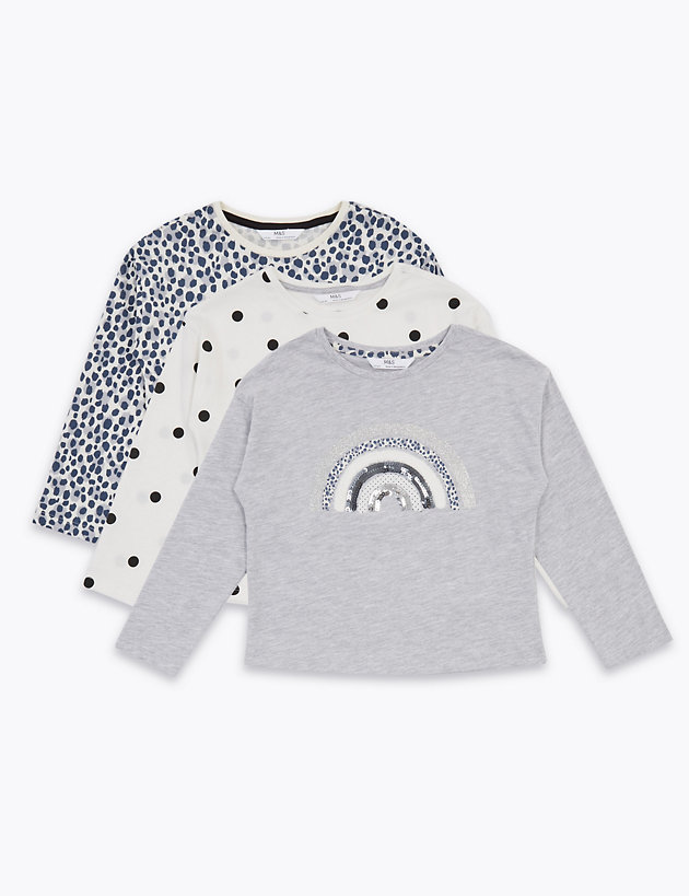 3 Pack Cotton Rich Patterned Tops (2-7 Yrs)