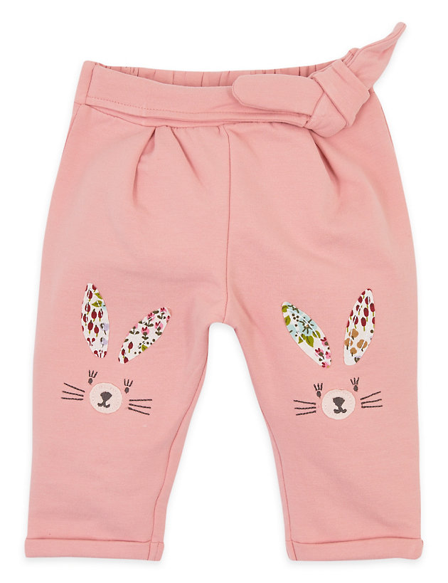 Cotton 3D Bunny Knee Detailing Joggers (0-3 Yrs)
