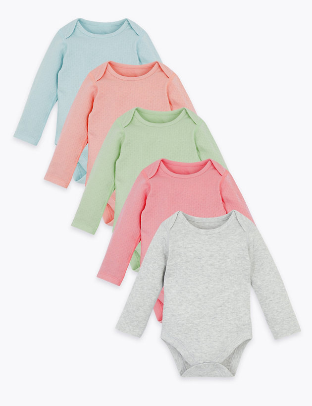 5 Pack Organic Cotton Pointelle Bodysuits (6 .5 lbs-3 Yrs)
