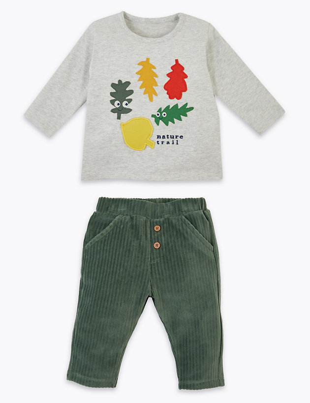 2 Piece Cotton Leaf Cord Joggers Outfit (0-3 Yrs)