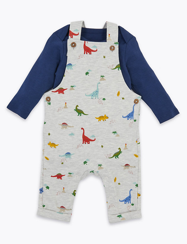 2 Piece Dinosaur Dungarees Outfit (0-3 Yrs)