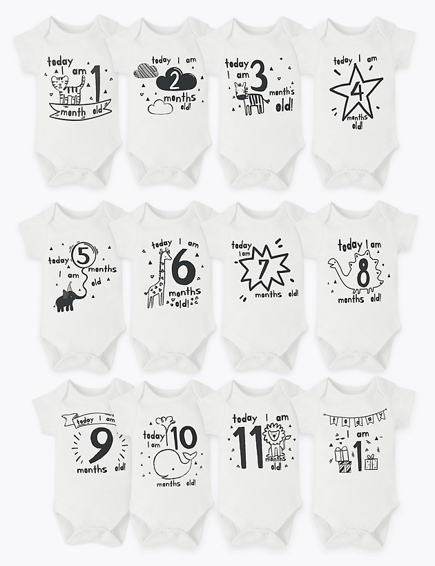 12 Pack Cotton Milestone Bodysuits