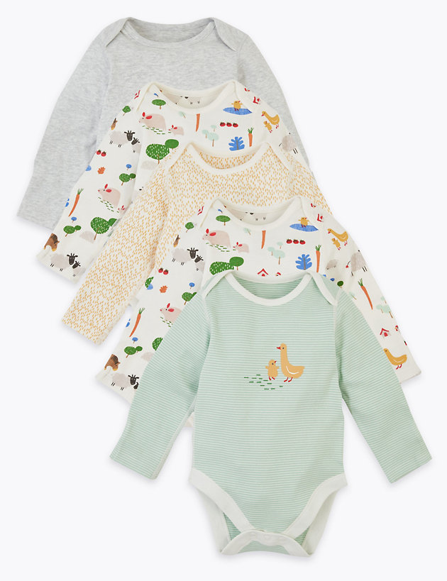 5 Pack Cotton Farmyard Bodysuits (6 .5lbs-3 Yrs)