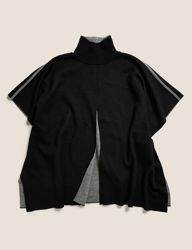 Contrast Funnel Neck Poncho
