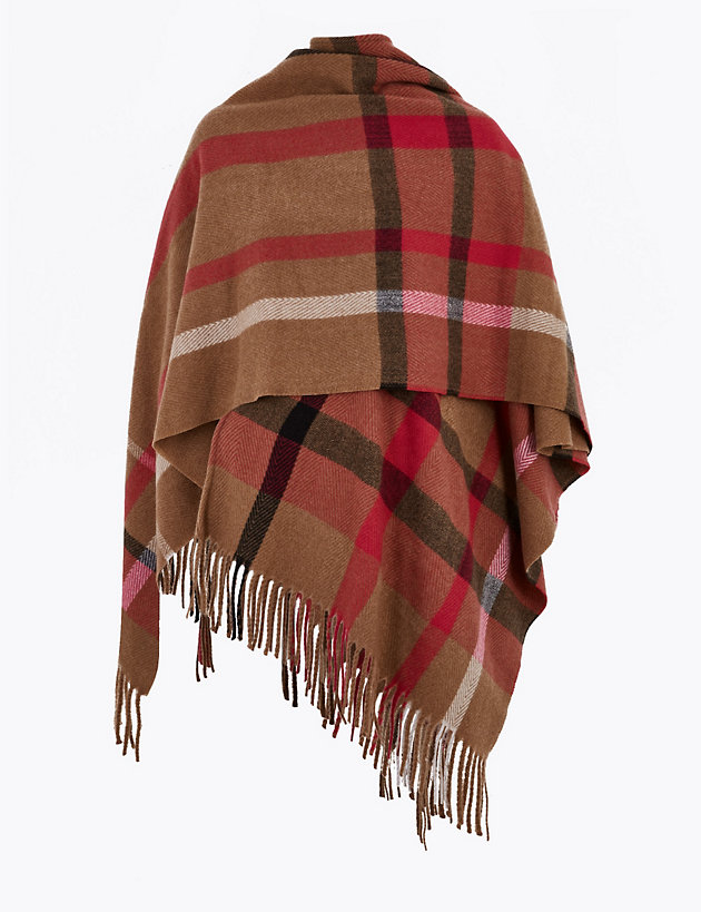 Woven Checked Tassel Poncho