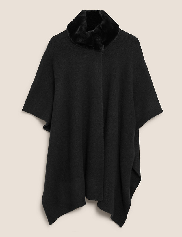 Knitted Faux Fur Collar Poncho