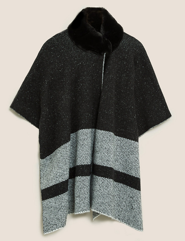 Knitted Striped Faux Fur Collar Poncho