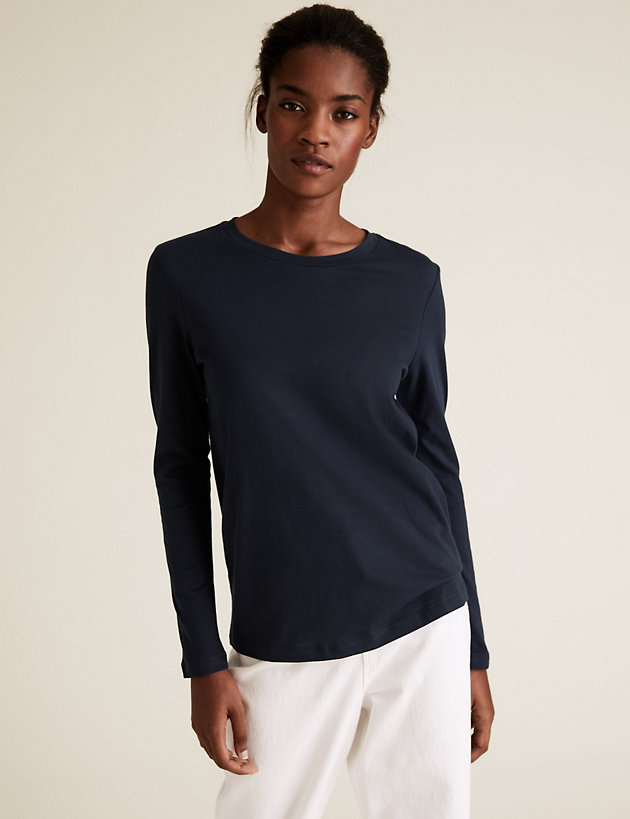 Pure Cotton Straight Fit Long Sleeve Top