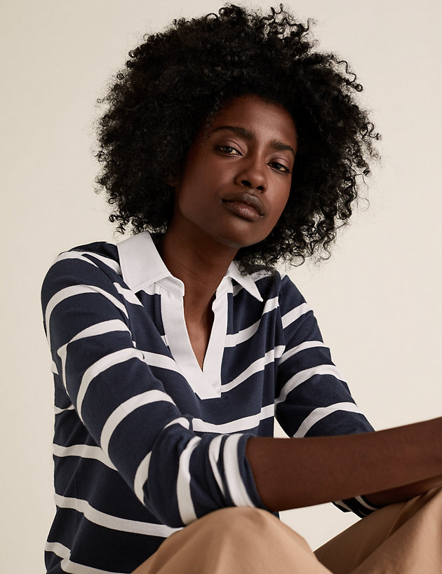 Pure Cotton Striped Rugby Collared Top