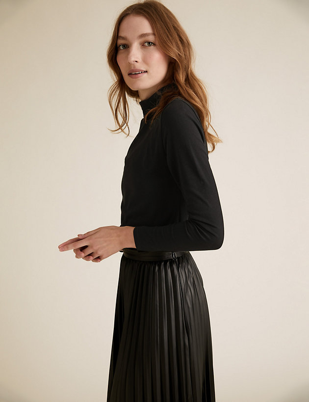 Cotton Funnel Neck Fitted Long Sleeve Top