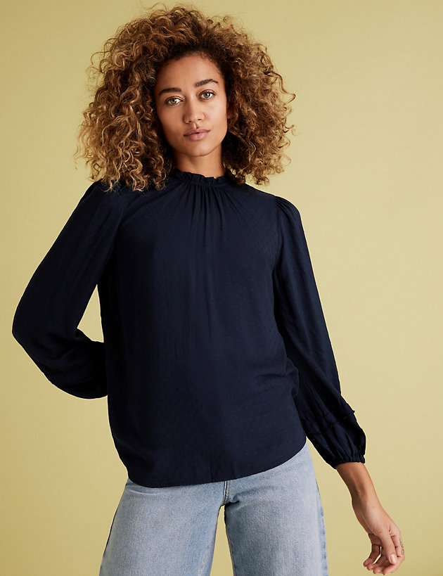 Textured Frill Neck Long Sleeve Blouse