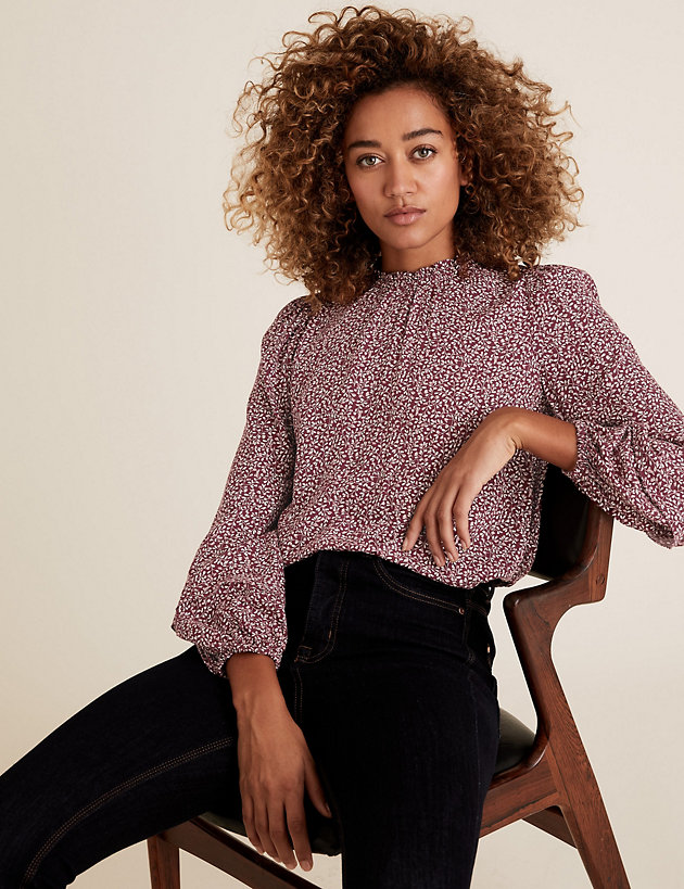 Ditsy Floral Frill Neck Long Sleeve Blouse