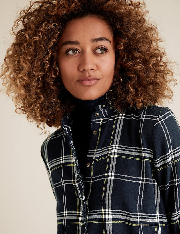Cotton Checked High Neck Frill Detail Tunic