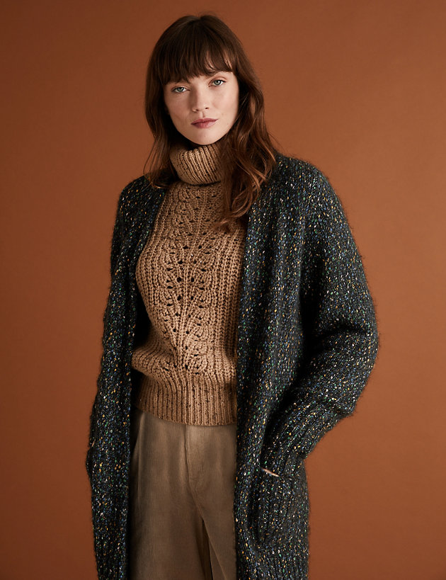 Textured Relaxed Longline Cardigan