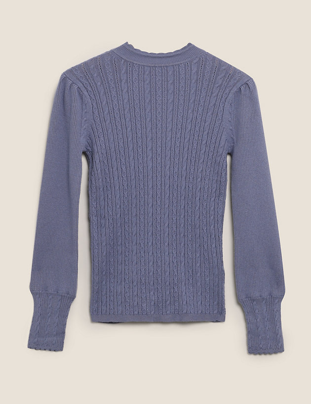 Cable Knit High Neck Jumper with Wool