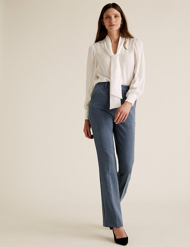 High Waisted Flared Leg Trousers