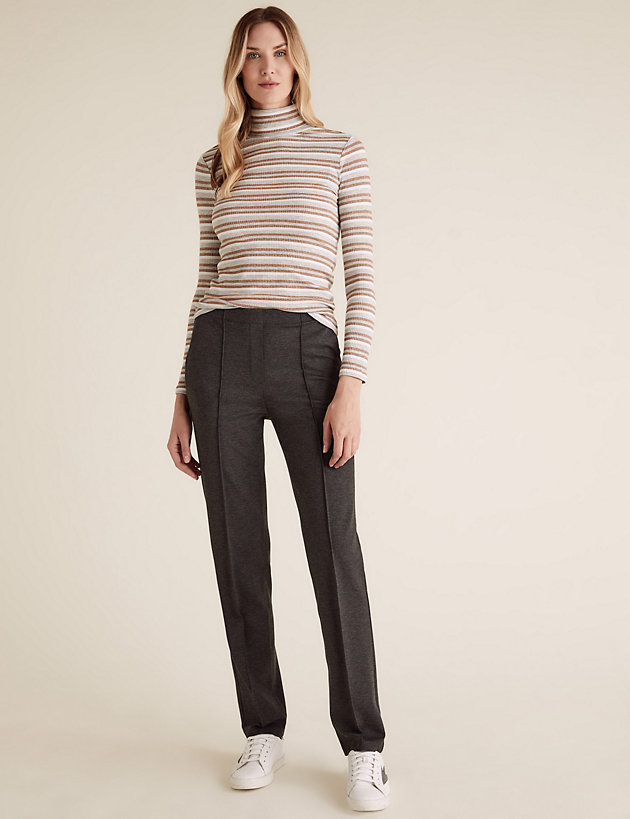 Jersey Straight Leg Trousers